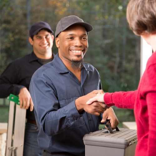 Service Manager Shaking Hands with Client