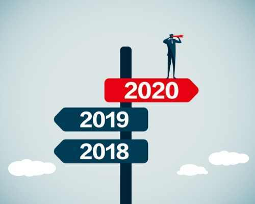 Road signs showing to go to 2019 with man looking it that direction with binoculars.
