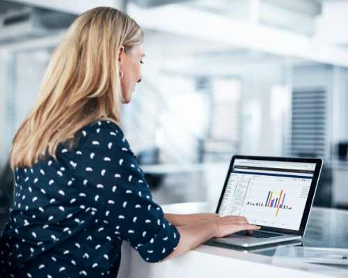 Woman Looking at Data on Computer