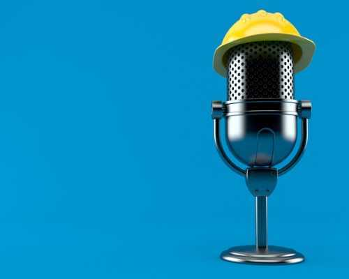 Podcast Mic with Construction Hat