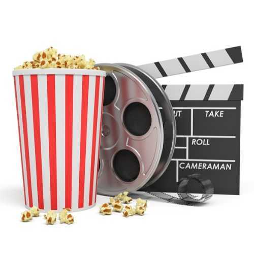 Popcorn, Movie Reel and Clapperboard