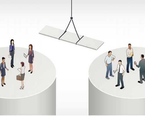 Image Showing a Gap Between Two Groups of People Being Bridged