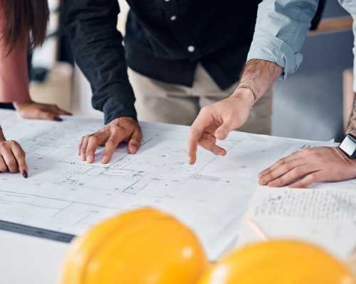 Contractors Collaborating over Construction Plan