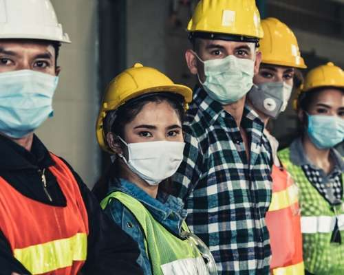 Construction Workers Wearing Masks to Stay Safe From COVID-19
