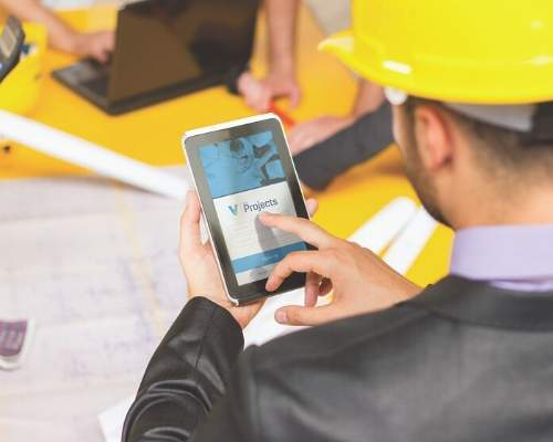 Construction Worker Using VFP On Mobile Device