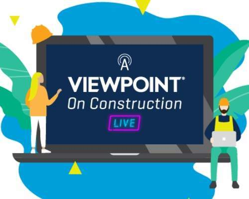 """Webinar graphic showing two animated construction workers next to a sign that reads """"A Viewpoint on Construction Live"""""""