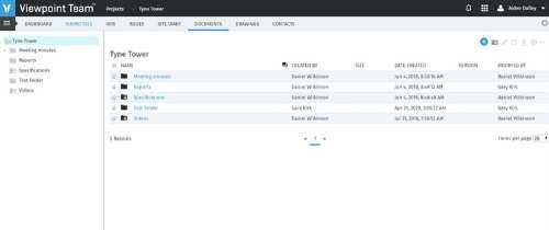 Viewpoint Team Screenshot of Document Management Feature