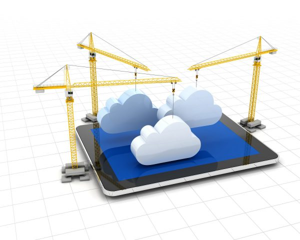 3D Cranes clouds and tablet