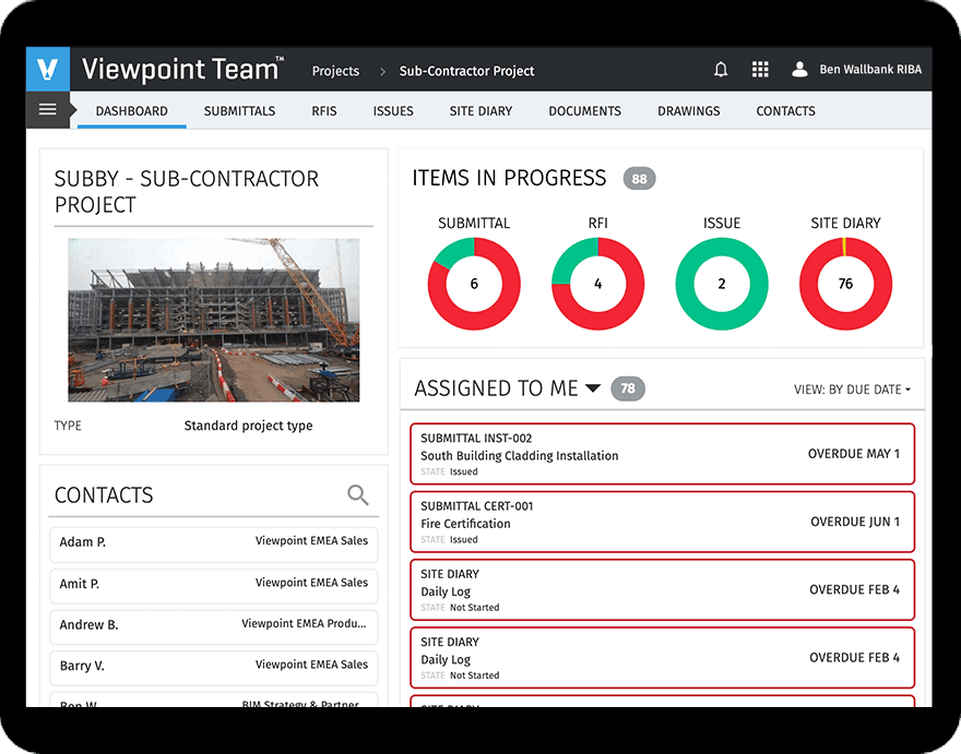 UK version of Viewpoint Team project management software screenshot in a tablet