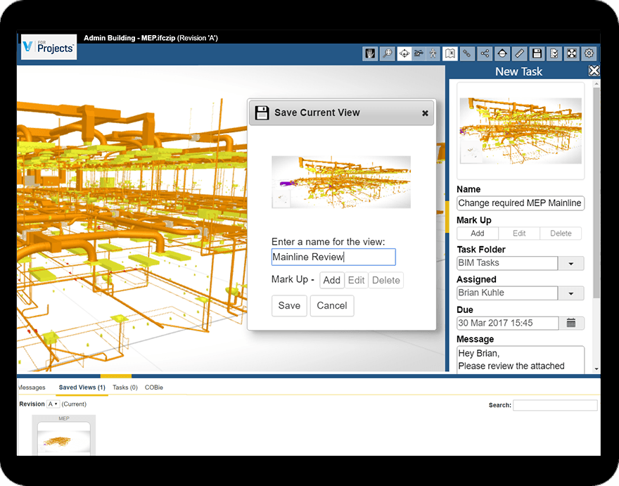 UK Viewpoint For Projects BIM software screenshot in a tablet